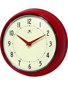 "Infinity Instruments 9 1/2"" Red Retro Wall Clock"