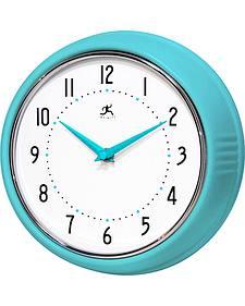 "Infinity Instruments 9 1/2"" Turquoise Retro Wall Clock"