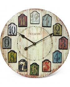 "Infinity Instruments 24"" Weathered Plank Wall Clock"