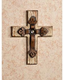 HiEnd Accents Distressed Wood and Bling Cross