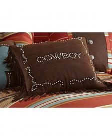 HiEnd Accents Brown Cowboy Studded Faux Leather Pillow