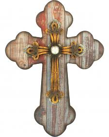 Western Moments Distressed Wood and Iron Wall Cross