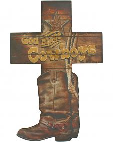 Western Moments God Bless Cowboys Wall Cross