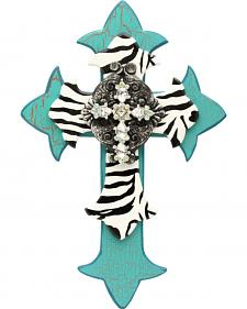 Western Moments Turquoise and Zebra Painted Wall Cross