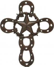 Western Moments Horseshoe Star Iron Wall Cross