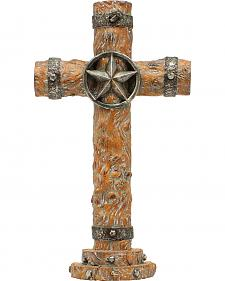 Western Moments Resin Wood Star Table Cross