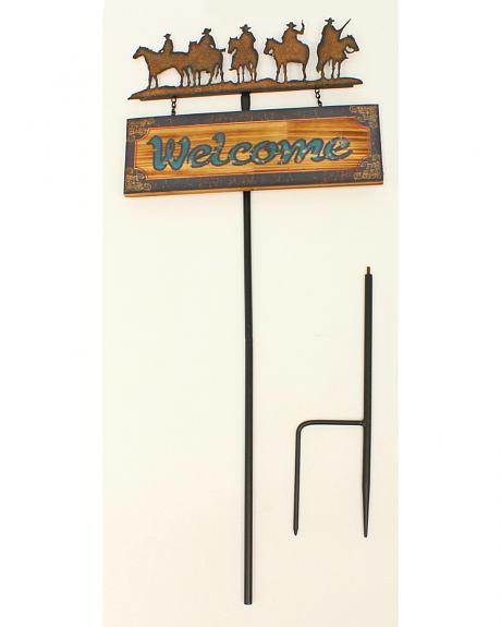 Western Moments Metal Welcome Lawn Stake