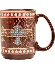 WESTERN LEATHER CROSS MUG