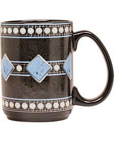 Western Moments Black Floral Studded Mug