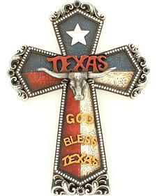 Western Moments Resin God Bless Texas Cross