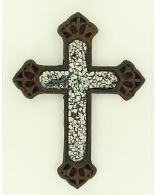 Western Moments Cast Iron Clear Glass Wall Cross