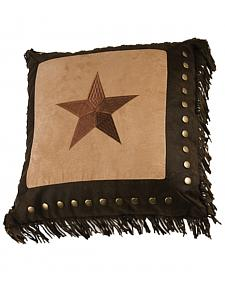 HiEnd Accents Embroidered Star with Metal Studs & Fringe Pillow