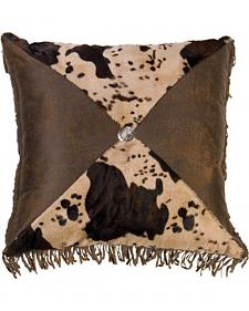 HiEnd Accents Faux Cowhide Concho Fringe Pillow