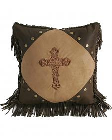 HiEnd Accents Embroidered Cross & Fringe Pillow