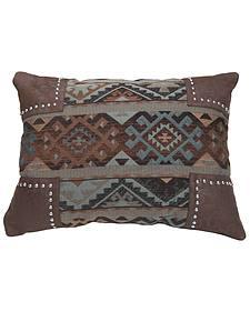 HiEnd Accents Navajo Nailhead Trim Scalloped Chenille Pillow