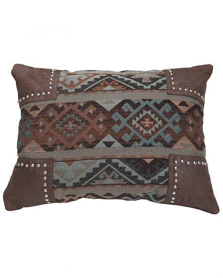 HiEnd Accents Navajo Nailhead Trim Scalloped Chenille Pillow