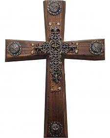 HiEnd Accents Wood Cross with Star Cross Overlay