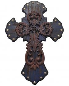 HiEnd Accents Studded Wood Wall Cross with Metal Cross Overlay