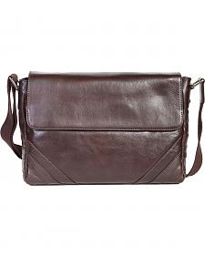 Scully Brown Leather Messenger Briefcase