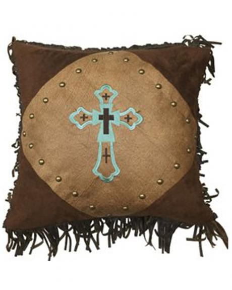 HiEnd Accents Embroidered Turquoise Cross Pillow