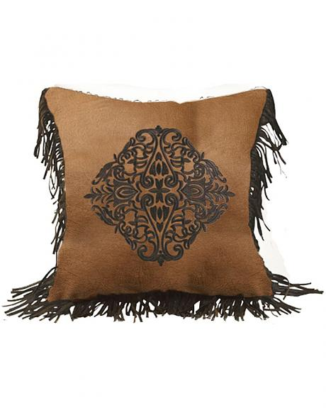 HiEnd Accents Austin Embroidered Faux Leather Pillow