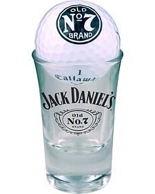 Jack Daniel's Set of 2 Callaway Warbird Golf Balls & Shot Glasses