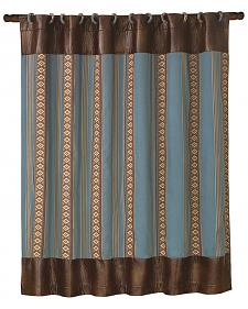 HiEnd Accents Ruidoso Blue Striped Shower Curtain