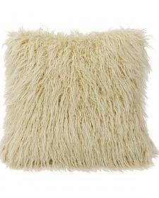 Mongolian Faux Fur Pillow, 18x18 Cream