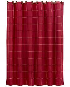 "Red window pane shower curtain with button detail, 72""x72"""