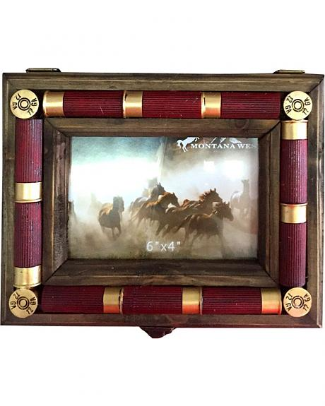 Montana West Resin Shotgun Shell Wood Frame Trinket Box