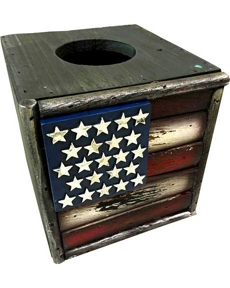 Montana West American Flag Wooden Tissue Box
