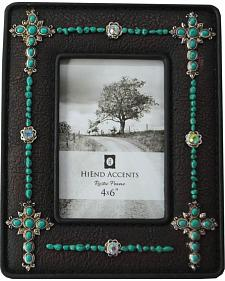 HiEnd Accents Turquoise Jeweled Frame with Crosses