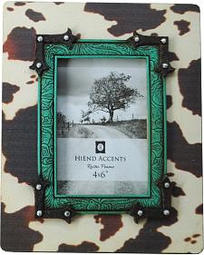 HiEnd Accents Cowhide Frame with Turquoise Trim