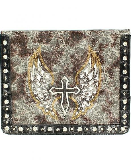 Distressed & Embroidered Cross & Wing iPad Case