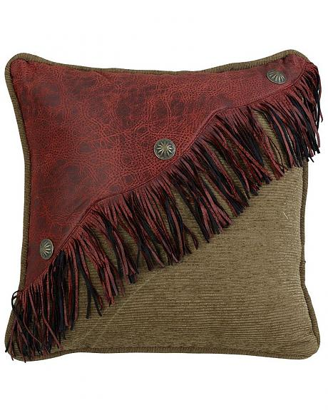 HiEnd Accents San Angelo Red Leather Fringe Pillow