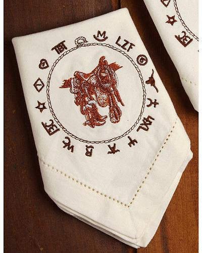 Ivory Hue With Brown Western Embroidered Designs. Set Of Four. Cloth  Napkins Will Look Exquisite U0026 Come In Handy.