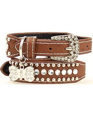 Blazin Roxx Bedecked Leather Dog Collar - S-XL