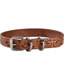 Double Barrel Tooled Cross Leather Dog Collar - S-XL