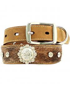 Blazin Roxx Hair-on-Hide Rhinestone & Concho Dog Collar - XS-XL