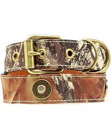 Double Barrel Camo Shotgun Shell Concho Dog Collar - XS-XL