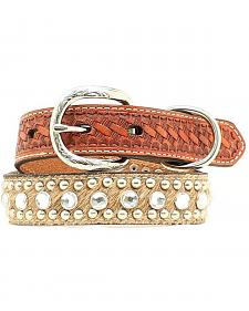 Double Barrel Embellished Basketweave & Hair-on-Hide Dog Collar - XS-XL