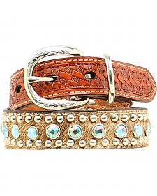 Double Barrel Embellished Basketweave & Hair-on Hide Dog Collar - XS-XL