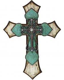 HiEnd Accents Wooden Cross with Tooled Turquoise Detail