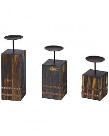 HiEnd Accents Wood and Metal Candle Holders - Set of 3