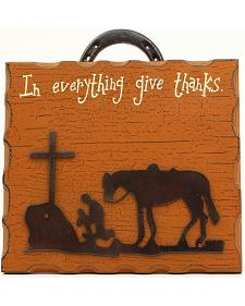 "M&F Western ""Give Thanks"" Praying Cowboy Sign"