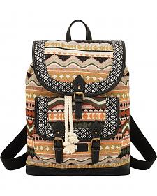 American West Bandana Tan and Black Santa Fe Drawstring Backpack