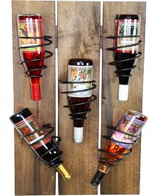 Delighted Home 5 Bottle Iron and Wood Wine Rack
