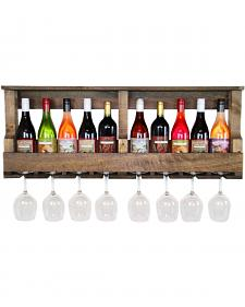 Delighted Home Original 10 Bottle Wine Shelf with 8 Glass Holder