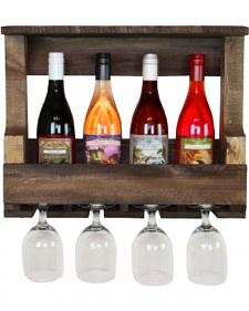 Delighted Home Original 5 Bottle Wine Shelf with 4 Glass Holder