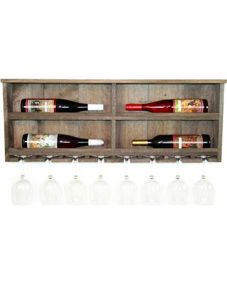 Delighted Home Shadowbox 4 Bottle Side Shelf with 8 Glass Holder